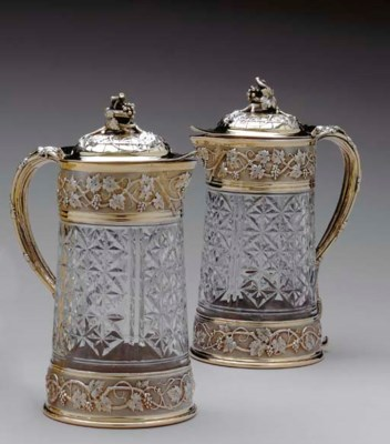 A PAIR OF SILVER-GILT-MOUNTED