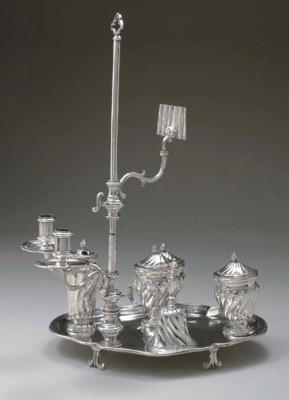 A SPANISH SILVER INKSTAND WITH