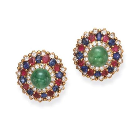 A PAIR OF GEM-SET EAR CLIPS, B