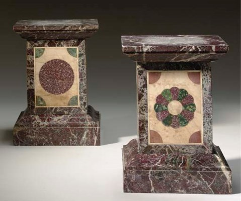 TWO SPECIMEN MARBLE STANDS