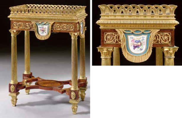 A RUSSIAN ORMOLU AND SEVRES PO
