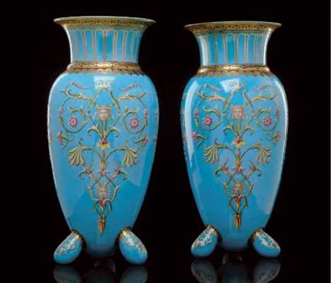 A PAIR OF FRENCH ENAMELLED OPA