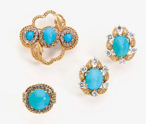 A GROUP OF GOLD, TURQUOISE, DI