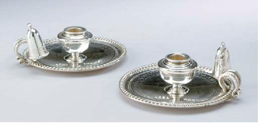 A PAIR OF SILVER-PLATED CHAMBE