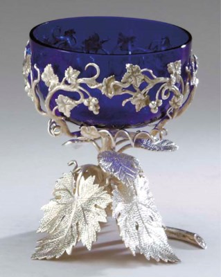 FOUR SILVER-PLATED AND COBALT