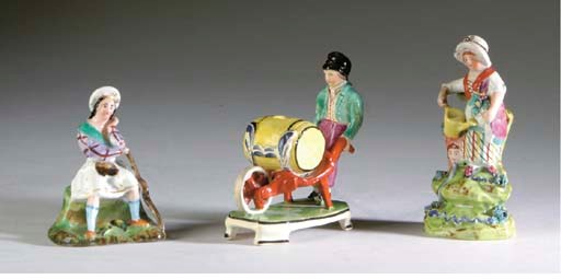 FIVE ENGLISH PEARLWARE FIGURES
