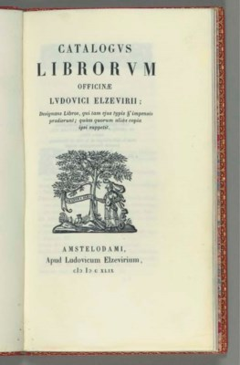 ELZEVIER, Louis III. Catalogus