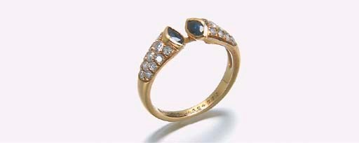 BAGUE SAPHIRS ET DIAMANTS, PAR