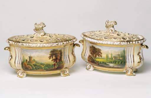 A PAIR OF DERBY PORCELAIN BOUG