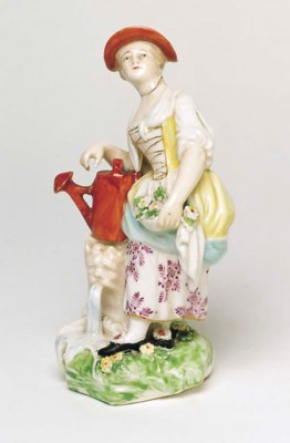 A DERBY FIGURE OF A YOUNG FARM