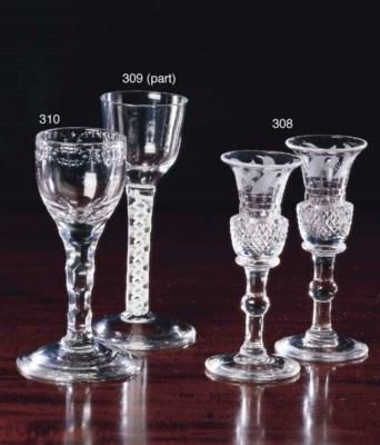 FOUR GEORGE III WINE GLASSES