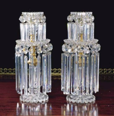 A PAIR OF GEORGE IV CRYSTAL AN