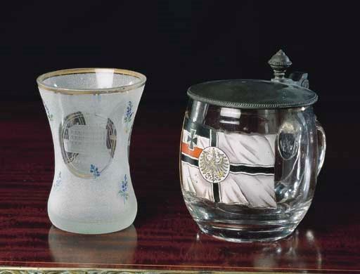 A BOHEMIAN ENAMEL GLASS BEAKER