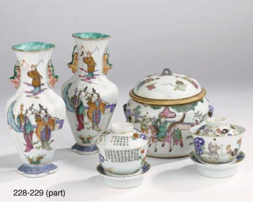 Two pairs of Chinese famille r