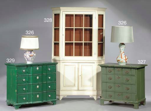 A DUTCH GREEN-PAINTED COMMODE