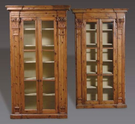 TWO STAINED PINEWOOD BOOKCASES