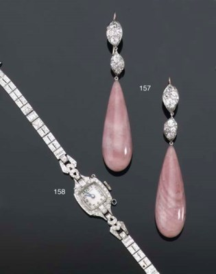 A PAIR OF PINK OPAL AND DIAMON