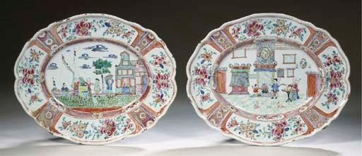 A pair of Delft doré oval 'gen