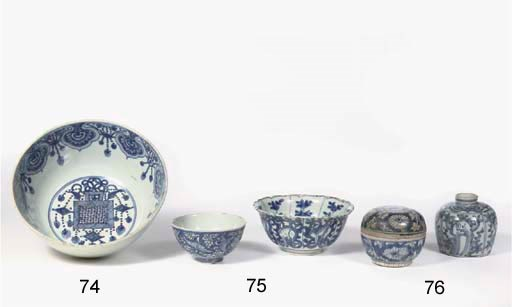 A late Ming blue and white box