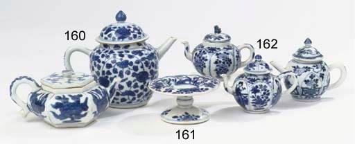 Three blue and white small tea