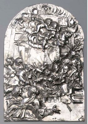 A large silver plaquette