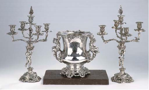 A pair of plated five-light ca