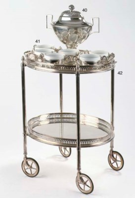 A German silver serving trolly