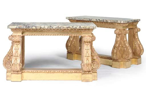 A PAIR OF GILTWOOD PIER TABLES