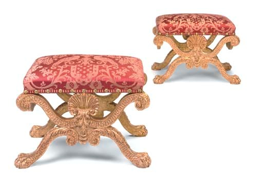 A PAIR OF GILTWOOD X-FRAME STO