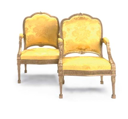 A PAIR OF GILTWOOD OPEN ARMCHA