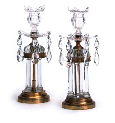 A PAIR OF CUT-GLASS AND GILT-M