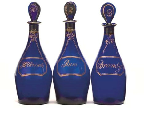 A SET OF THREE COBALT-BLUE GLA