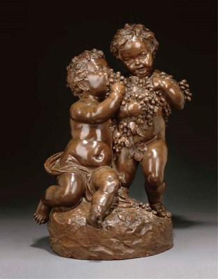 A French terracotta group of t