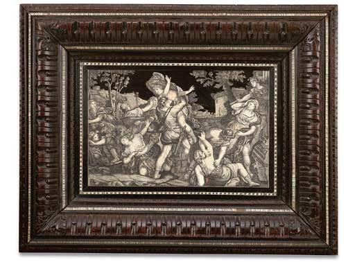 A large framed Italian ebony a