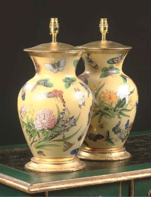 A PAIR OF VERRE EGLOMISE VASES
