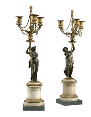 A PAIR OF LOUIS XVI BRONZE AND