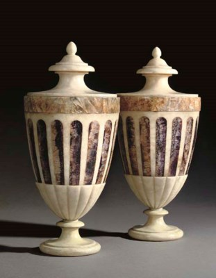 A PAIR OF VICTORIAN ALABASTER,