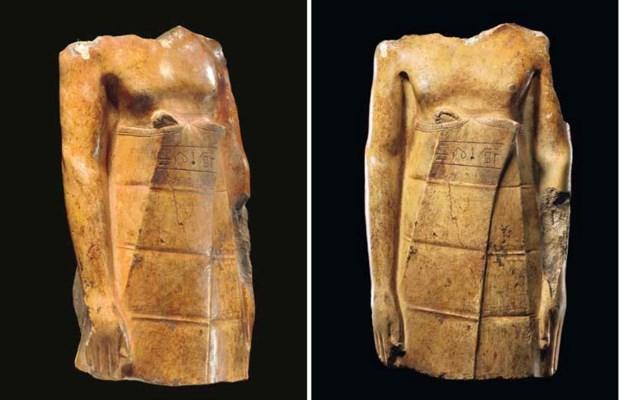 AN EGYPTIAN YELLOW LIMESTONE T