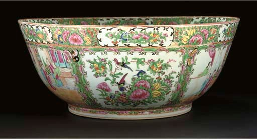 A Cantonese punch bowl, 19th c