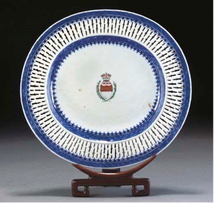 A Chinese armorial oval dish,