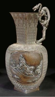 A Japanese bronze baluster vas