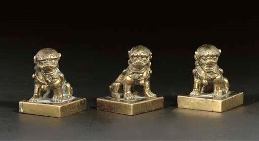 Three Chinese small bronze sea