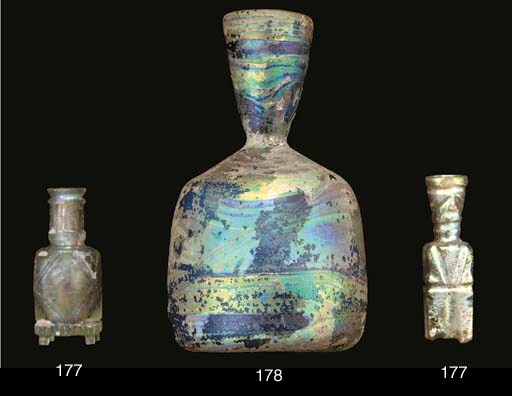 A blue glass bottle, North Eas