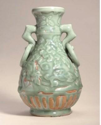 A celadon Ming-style pear-shap