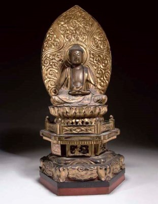 A Japanese gilt wood figure of