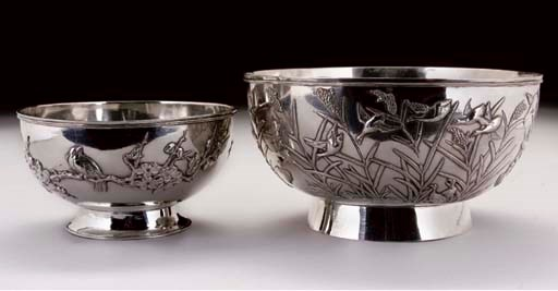 Two Chinese silver bowls, stam