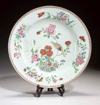 A famille rose charger, 18th C