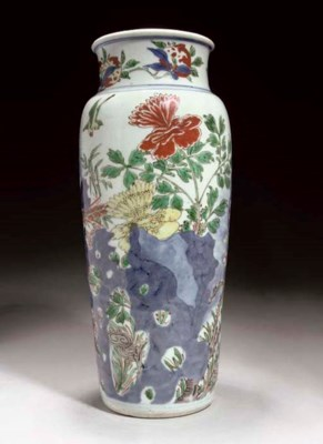 A Chinese wucai sleeve vase, T