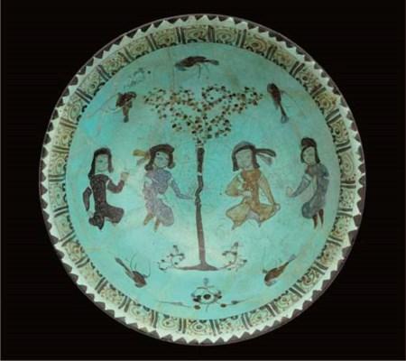 A turquoise glazed Minai potte