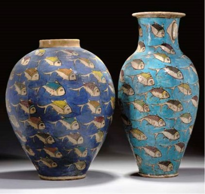 TWO LARGE QAJAR POTTERY VASES,